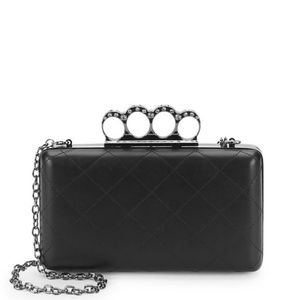 Black quilted leather clutch purse minaudiere